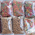Pet food packed in clear bags