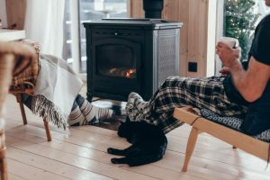 Black cat enjoying warm home in front of woodstove with family