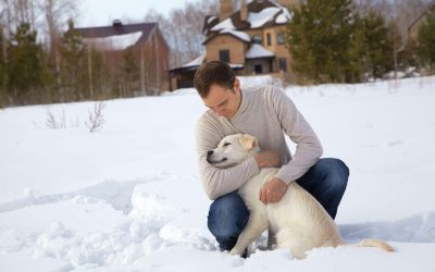 man with dog in snow | Ultimate Pet Nutrition